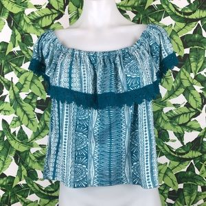 5 for $25 Roxy Teal Print Crochet Off Shoulder Top